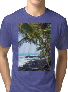 Hawaiian Coast Ocean Waves Rocky Beach Tropical Landscape Tri-blend T-Shirt