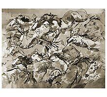 Running Horses BW Photographic Print