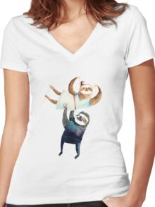 Slothy dancing - sloth couple Women's Fitted V-Neck T-Shirt