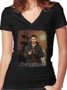 "Captain Hook ""I'm Hooked"" Comic Design Women's Fitted V-Neck T-Shirt"