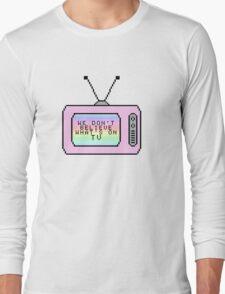 Ombre Pastel Pixel TV Lyrics Long Sleeve T-Shirt