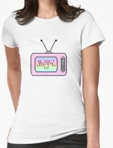 Ombre Pastel Pixel TV Lyrics Womens Fitted T-Shirt
