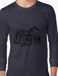 Vintage Arabian Horse Illustration Retro 1800s Black and White Equestrian Image Long Sleeve T-Shirt