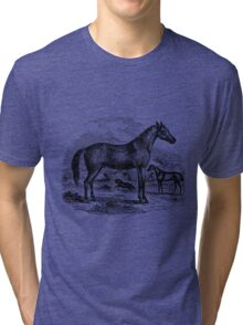 Vintage Arabian Horse Illustration Retro 1800s Black and White Equestrian Image Tri-blend T-Shirt