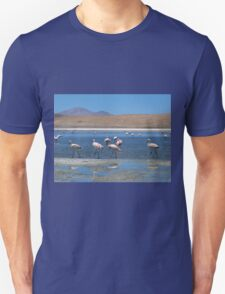Pink Flamingos At Lagoon Unisex T-Shirt