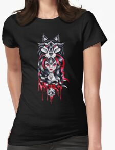 wolf gothic girl  Womens Fitted T-Shirt