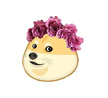 Doge With Flower Crown Photographic Print