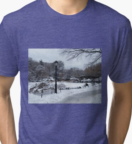 Central Park In Snow, New York City Tri-blend T-Shirt