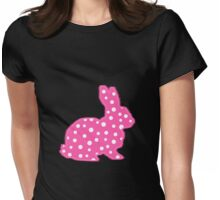 Pink Polka Dot Bunny Womens Fitted T-Shirt