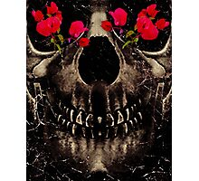 Death and Flowers Digital Photo Collage  Photographic Print