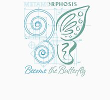 METAMORPHOSIS - Become the Butterfly - Blue Green Graphic - Positive Encouragement - Encouraging Women's Fitted Scoop T-Shirt