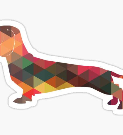 Dachshund Dog Colorful Geometric Pattern Silhouette - Multi Sticker
