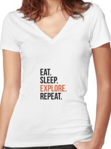 eat sleep explore repeat Women's Fitted V-Neck T-Shirt