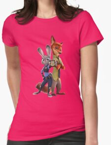 Nick and Judy Badge Womens Fitted T-Shirt