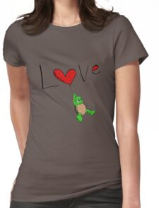 Turtle Red Heart Womens Fitted T-Shirt
