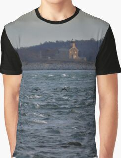 View On Plum Island Lighthouse | Orient Point, New York Graphic T-Shirt