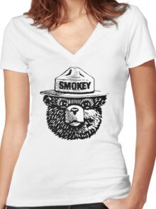 Smokey The Bear Women's Fitted V-Neck T-Shirt