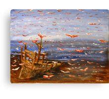 Beach, Boat, and Birds Canvas Print