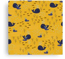 Playful Whales Drawing - Seamless Pattern Canvas Print