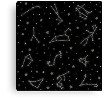 Western Zodiac Constellation Pattern Canvas Print