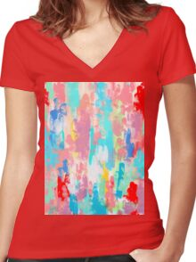 FIREWORKS OF SUMMER Women's Fitted V-Neck T-Shirt
