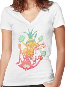 Ninja pineapple Women's Fitted V-Neck T-Shirt