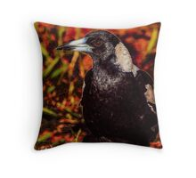 Backyard Magpie Throw Pillow