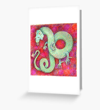 Green Dragon on red background Greeting Card