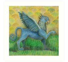 Blue Gryphon on green and yellow background Art Print