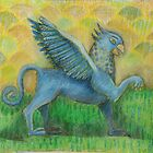 Blue Gryphon on green and yellow background by drawcard