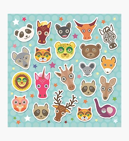 Set of animals on blue polka dot background Photographic Print