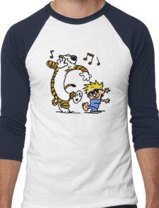 Calvin And Hobbes Dancing Men's Baseball ¾ T-Shirt