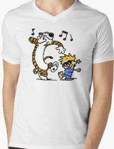Calvin And Hobbes Dancing Mens V-Neck T-Shirt