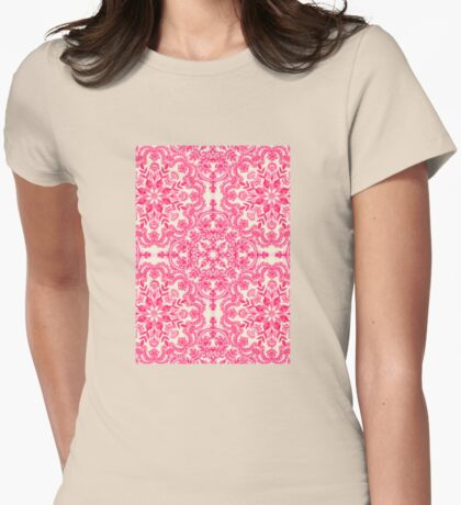 Hot Pink & Soft Cream Folk Art Pattern Womens Fitted T-Shirt