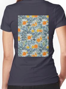 oranges and leaves vintage pattern Women's Fitted V-Neck T-Shirt