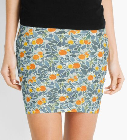 oranges and leaves vintage pattern Mini Skirt