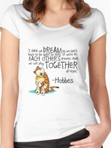 Calvin and Hobbes Dreams Quote Women's Fitted Scoop T-Shirt