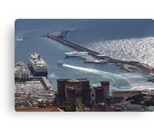 Naples Distinctive Harbor in Silver and Blue - Castles and Cruise Ships From Above Canvas Print