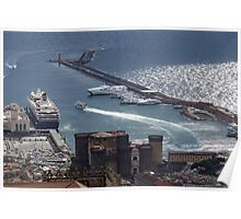 Naples Distinctive Harbor in Silver and Blue - Castles and Cruise Ships From Above Poster