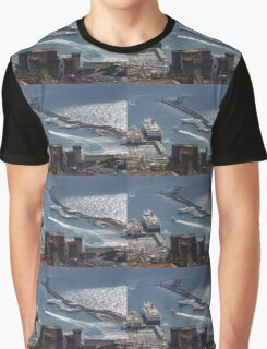 Naples Distinctive Harbor in Silver and Blue - Castles and Cruise Ships From Above Graphic T-Shirt
