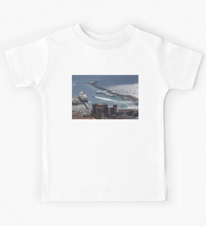 Naples Distinctive Harbor in Silver and Blue - Castles and Cruise Ships From Above Kids Tee