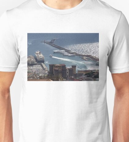 Naples Distinctive Harbor in Silver and Blue - Castles and Cruise Ships From Above Unisex T-Shirt