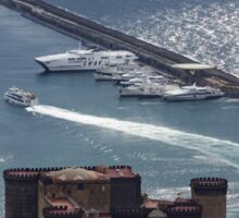 Naples Distinctive Harbor in Silver and Blue - Castles and Cruise Ships From Above Sticker