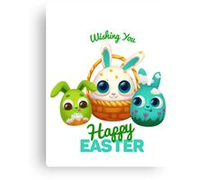 Happy Easter Card with Easter Rabbit Canvas Print