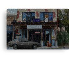Moody Auto Parts In the Rain Canvas Print