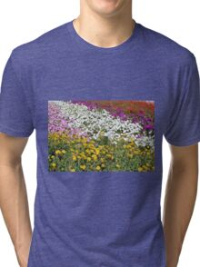 Colorful field of flowers. Tri-blend T-Shirt