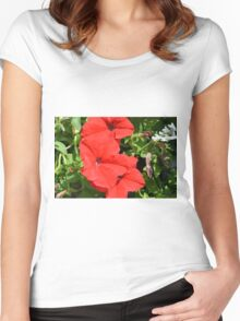 Red flowers on green leaves background. Women's Fitted Scoop T-Shirt