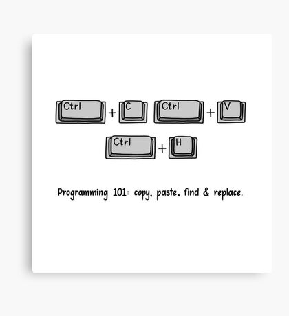 Programming 101: Copy, Paste, Find & Replace Canvas Print