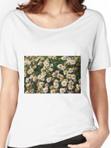 White flowers and yellow center, natural background. Women's Relaxed Fit T-Shirt