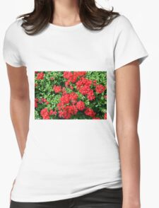 Bush of red flowers and green leaves. Womens Fitted T-Shirt
